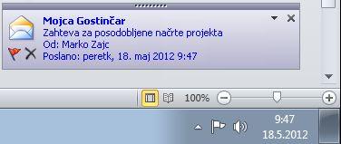 Namizno opozorilo v Outlooku