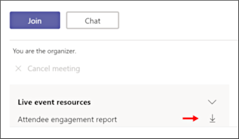 Download attendee engagement report screen