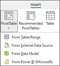 Spustni seznam »Vstavi vrtilno tabelo«, ki prikazuje možnost »iz storitve Power BI«.