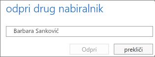 Pogovorno okno za odpiranje drugega nabiralnika v programu Outlook Web App