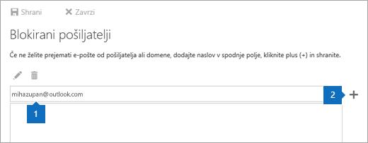Posnetek zaslona strani »Blokirani pošiljatelji«.