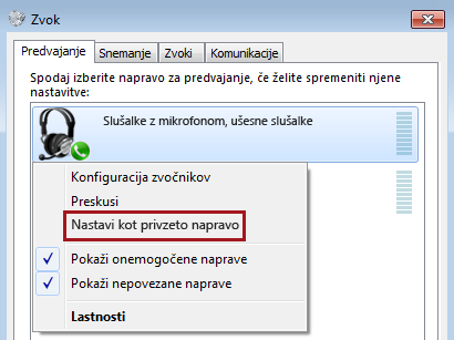 Nastavite napravo kot privzeto v sistemu Windows