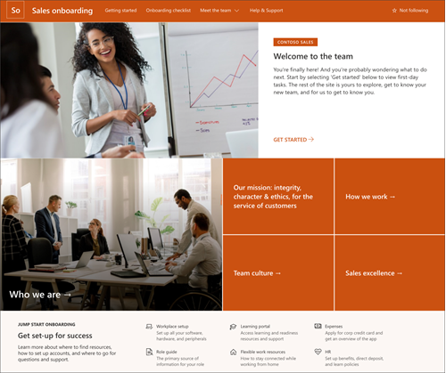 Domača stran zaslona na domači strani predloge za SharePoint