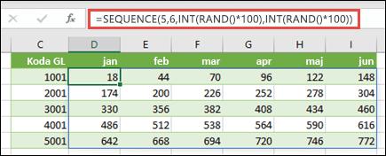 Primer funkcije SEQUENCE, ugnezdene z argumentoma INT in RAND, če želite ustvariti vzorčni nabor podatkov