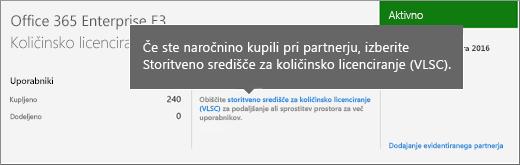 Povezava storitvenega središča za količinsko licenciranje (VLSC)