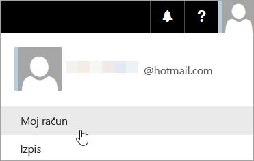 Posnetek zaslona, ki prikazuje izbrano možnost »Moj račun« na spustnem seznamu.