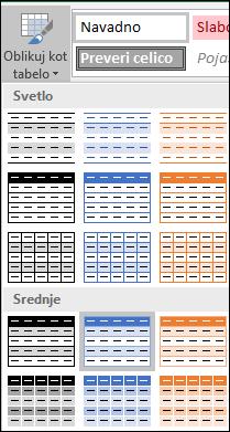 Izbori v Excelovi galeriji slogov za možnost »Oblikuj kot tabelo«