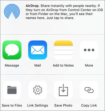 Posnetek zaslona gumba »Shrani fotografijo« v apliakciji OneDrive za iOS