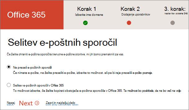 Selitev e-pošte
