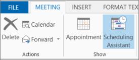 Gumb »Asistent za razporejanje časa« v programu Outlook 2013.