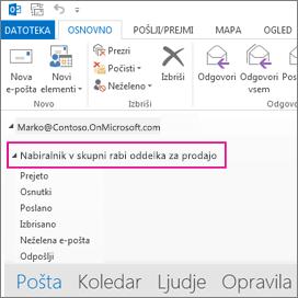 Nabiralnik v skupni rabi je prikazan na seznamu map v Outlooku