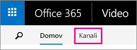Gumb »Kanali« v zgornji vrstici za krmarjenje portala Office 365 Video