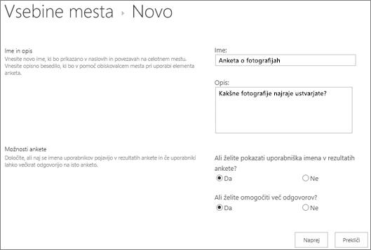 Pogovorno okno »Nova Anketa« z izpolnjenimi polji z besedilom.