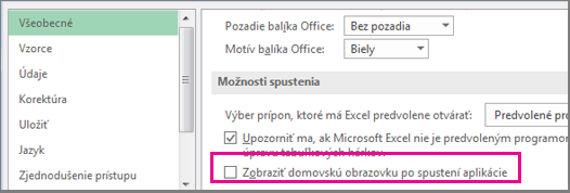 Excel option to turn off the start screen when you open Excel