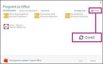 Gumb za osveževanje programčkov za Office