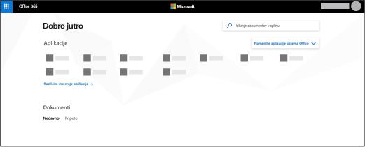Domača stran storitve Office 365