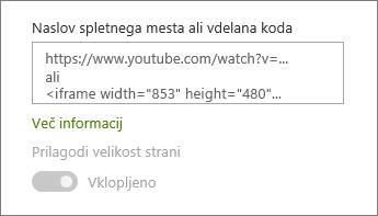 Lepljenje URL-ja videoposnetka ali vdelane kode v polje