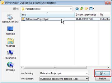 Pogovorno okno »Ustvari/odpri Outlookovo podatkovno datoteko«