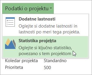 Možnosti podatkov o projektu