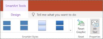 Gumb» nadomestno besedilo «na traku za grafiko SmartArt v programu PowerPoint online.