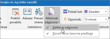 Posnetek zaslona gumba »Zahtevaj odgovore« v programu Outlook 2016 za Windows