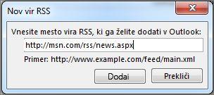Vnesite spletni naslov vira RSS