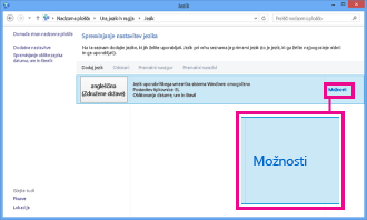 Dodajanje vnosne metode na nadzorni plošči v sistemu Windows 8