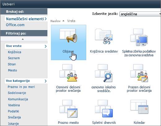 Ustvarjanje seznama ali stran knjižnice v programu SharePoint 2010 z označenimi objavami