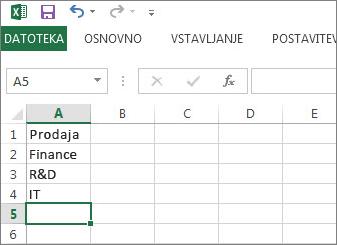 Ustvarite spustni seznam vnosov v enem stolpcu ali vrstici v Excelu