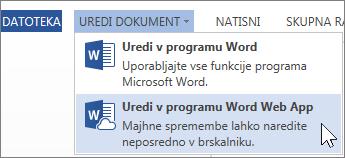 Uredi v programu Word Online