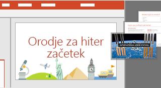 PowerPointova funkcija »Orodje za hiter začetek«