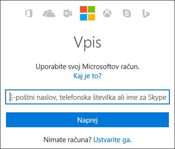 Posnetek zaslona strani za vpis »Moj račun«, na katero vnesete Microsoftov račun, ki ga uporabljate s sistemom Office