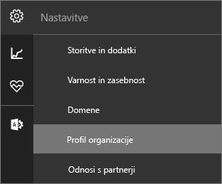 Posnetek zaslona menija »Nastavitve« z izbranim profilom »Organizacija«