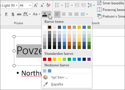 Uporabite možnosti »Barva pisave«, če želite spremeniti barvo besedila.