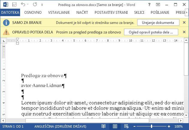 Element za pregled z rumenima vrsticama za sporočila