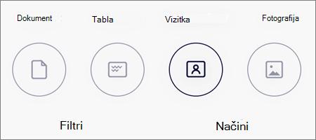 Možnosti načina za skeniranje slik v OneDrive za iOS
