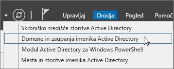 Izberite domene in zaupanja imenike Active Directory.