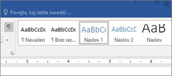 Posnetek zaslona možnosti slogov naslova