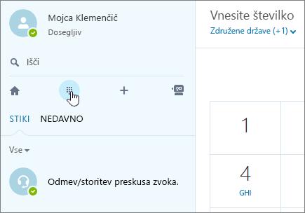 Posnetek zaslona, ki prikazuje, kje kličete v Skypu