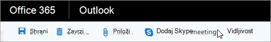 Dodajanje sestanka v Skypu v e-poštno sporočilo