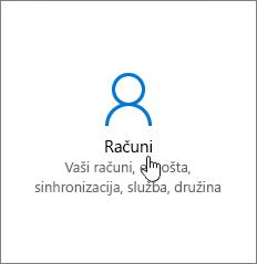 V nastavitvah sistema Windows izberite »Računi«