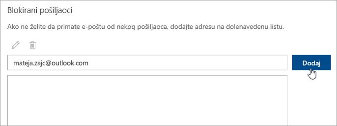 Posnetek zaslona polja blokiranih pošiljateljev