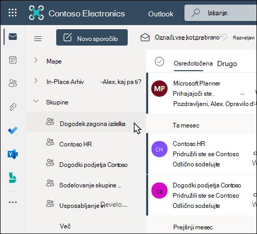 Skupine v storitvi Office 365 v Outlooku
