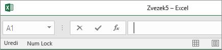 Zavihki delovnega lista izginejo, ko vrstico stanja povlečete do vnosne vrstice