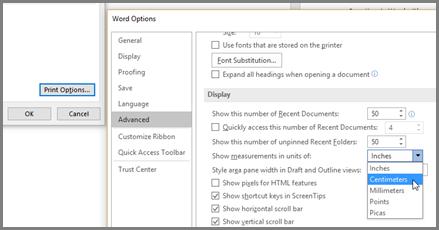 V Wordove možnosti kliknite dodatno, pomaknite se do prikazati možnost, »Pokaži mere v enotah ««