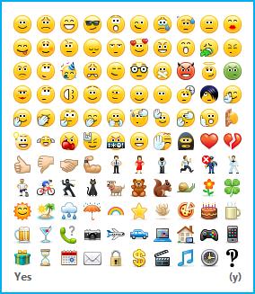 Posnetek zaslona, na katerem so prikazani čustveni simboli, ki so na voljo, in kontrolnik za njihov vklop in izklop