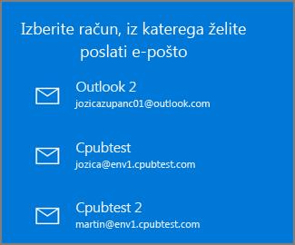 Izberite račun, iz katerega želite poslati e-poštno sporočilo