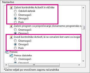Omogočanje kontrolnikov ActiveX, da se naložijo in zaženejo v Internet Explorerju