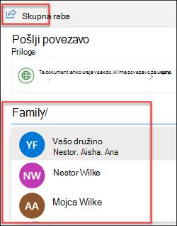 Okno za skupno rabo OneDrive
