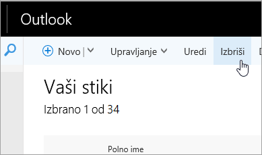 Posnetek zaslona gumba »Izbriši« pod Outlookovo vrstico za krmarjenje.